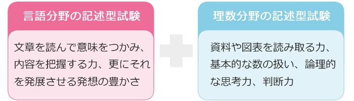 言語分野と理数分野の記述式試験